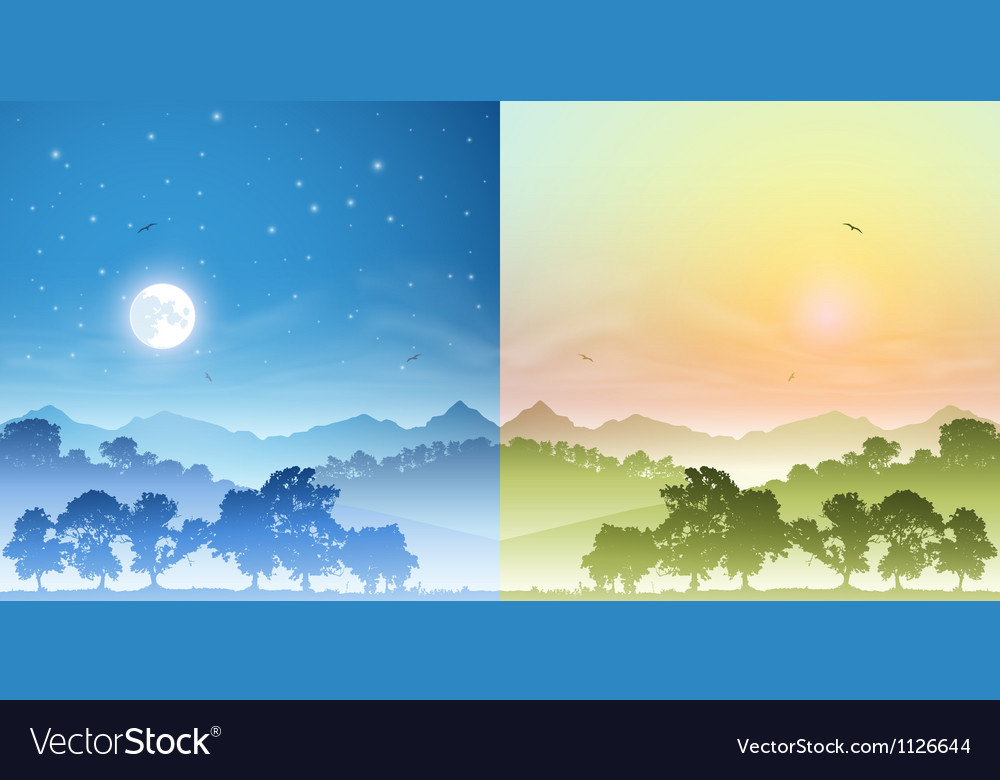 Day and night landscapes vector | Price: 1 Credit (USD $1)