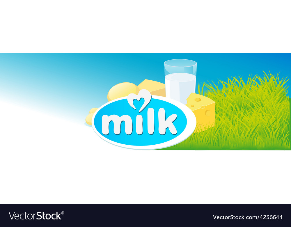 Design with milk dairy product and green grass vector | Price: 1 Credit (USD $1)