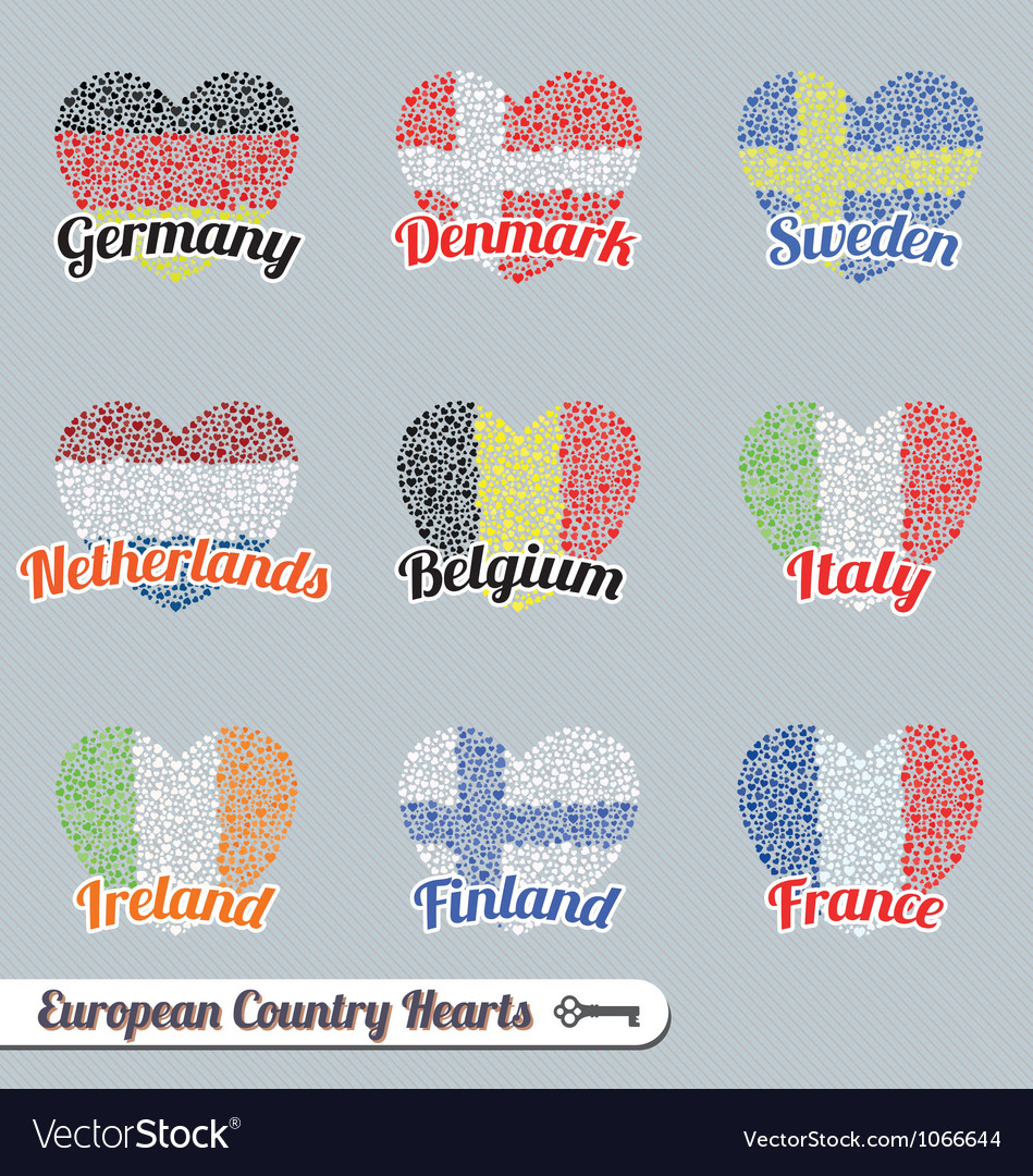 Europe country heart labels and icons vector | Price: 1 Credit (USD $1)