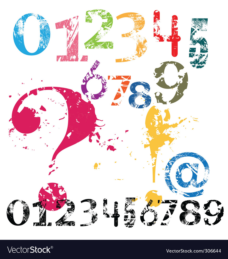 Grunge numbers vector | Price: 1 Credit (USD $1)