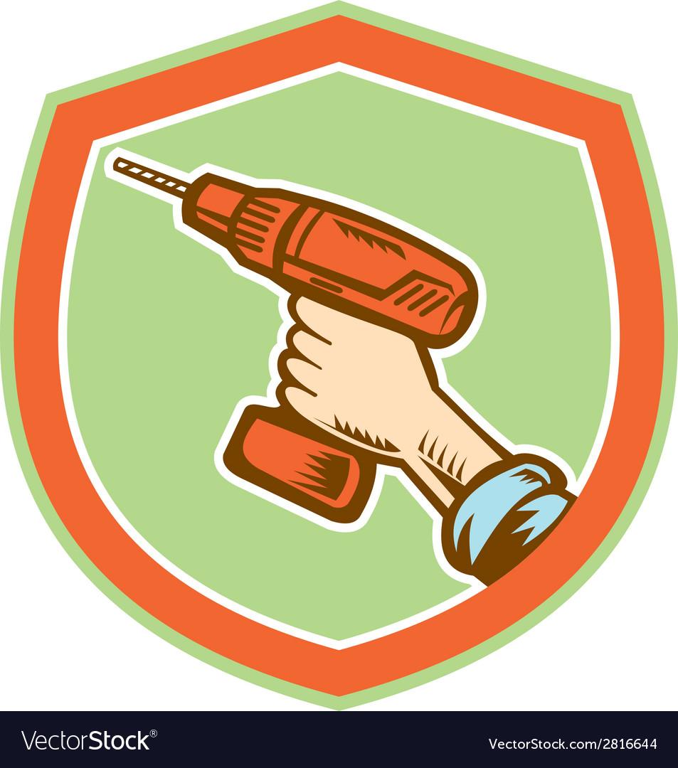 Handyman hand holding cordless drill retro vector | Price: 1 Credit (USD $1)