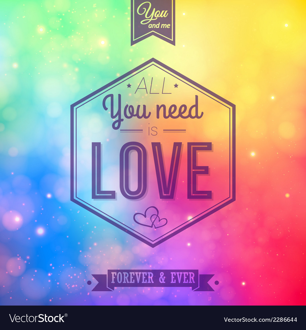 Romantic card on a soft blurry rainbow background vector | Price: 1 Credit (USD $1)