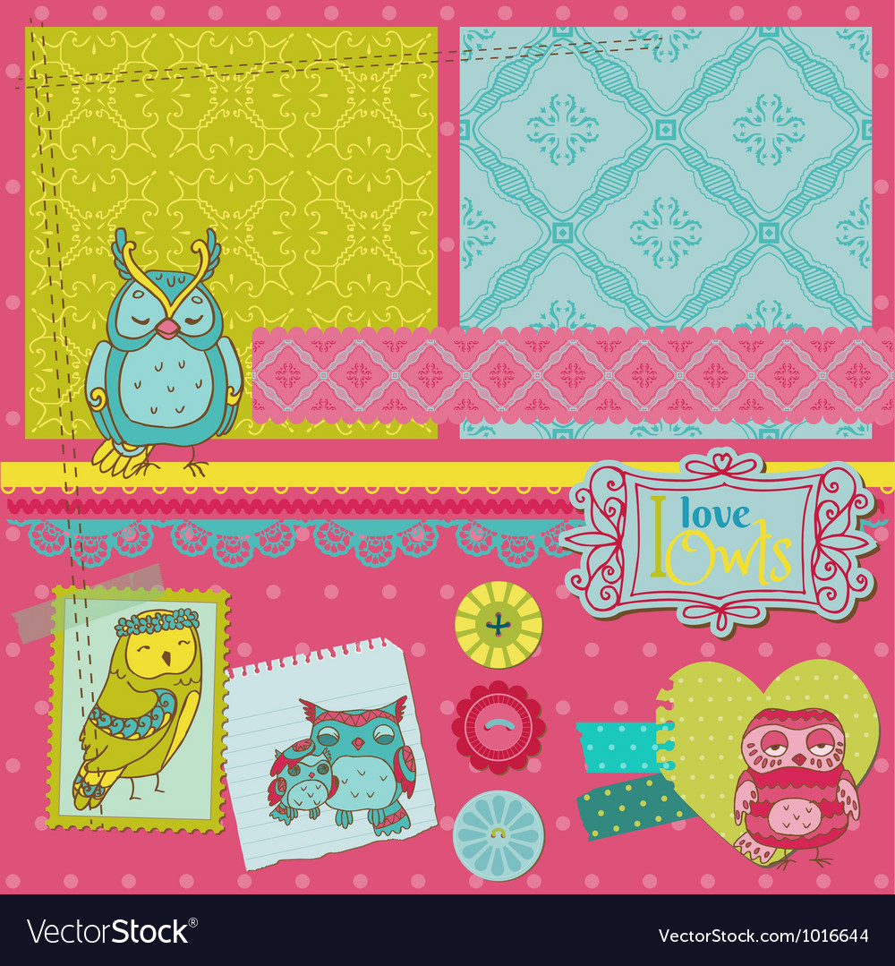 Scrapbook design elements - little owls vector | Price: 1 Credit (USD $1)