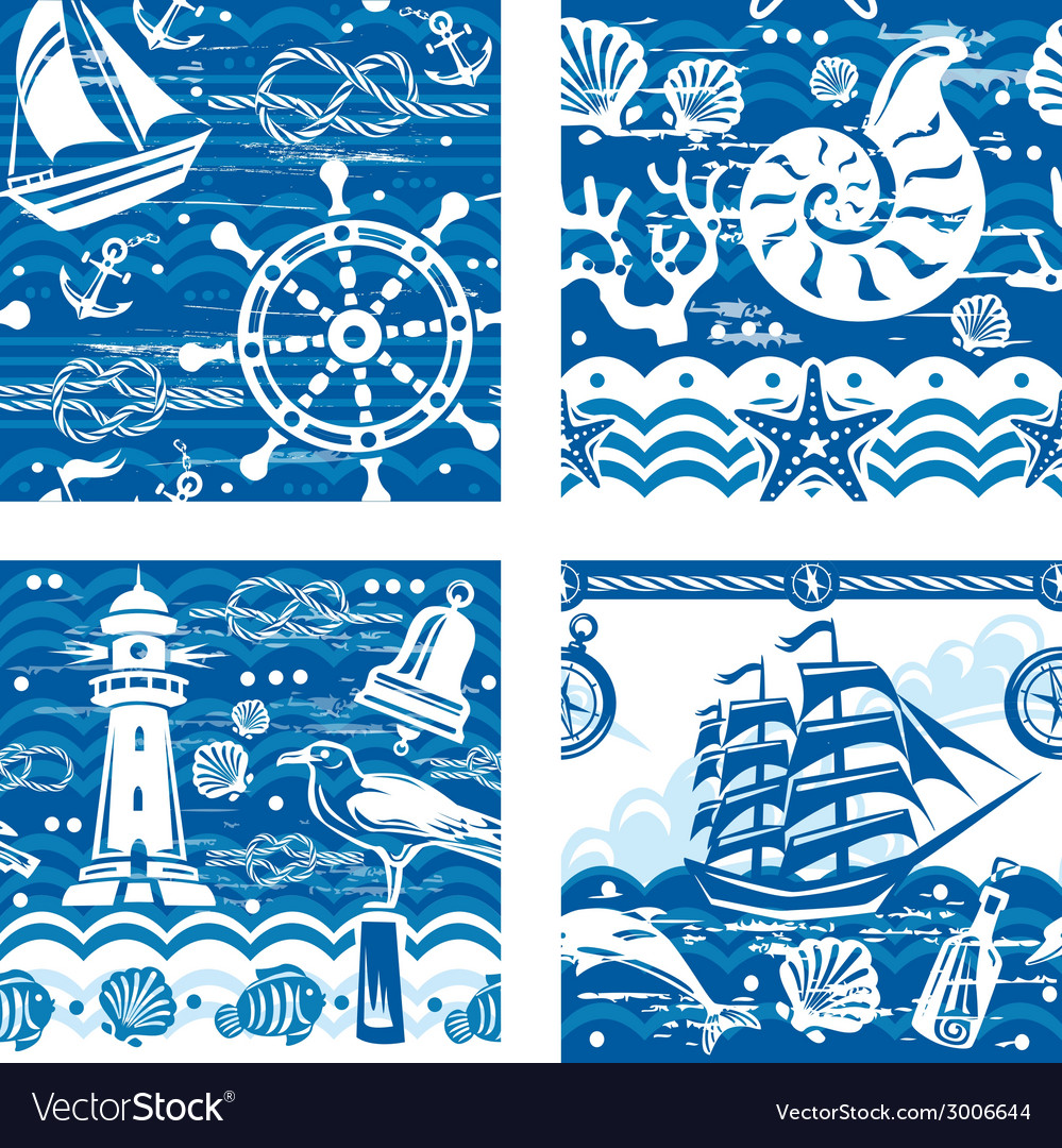 Seampless patterns with nautical and sea symbols vector | Price: 1 Credit (USD $1)
