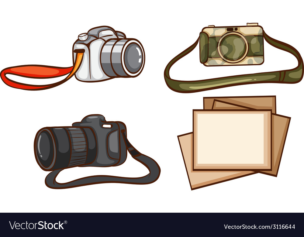 Simple sketches of the cameras of a photographer vector | Price: 1 Credit (USD $1)