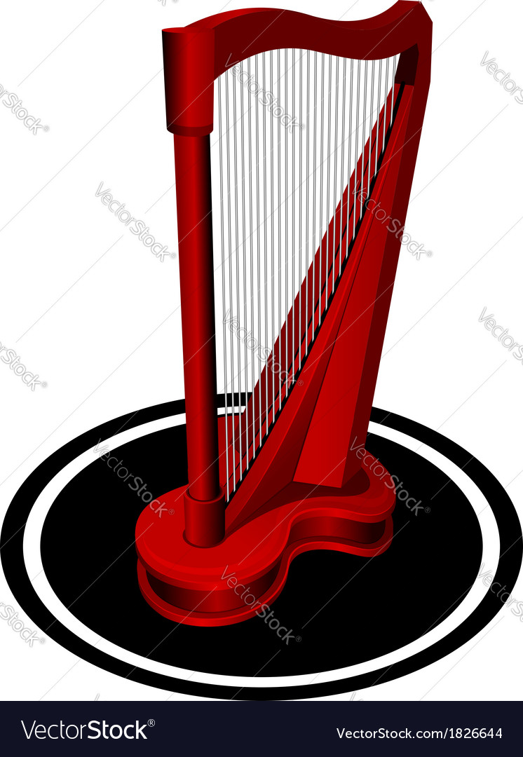 Small red harp vector | Price: 1 Credit (USD $1)