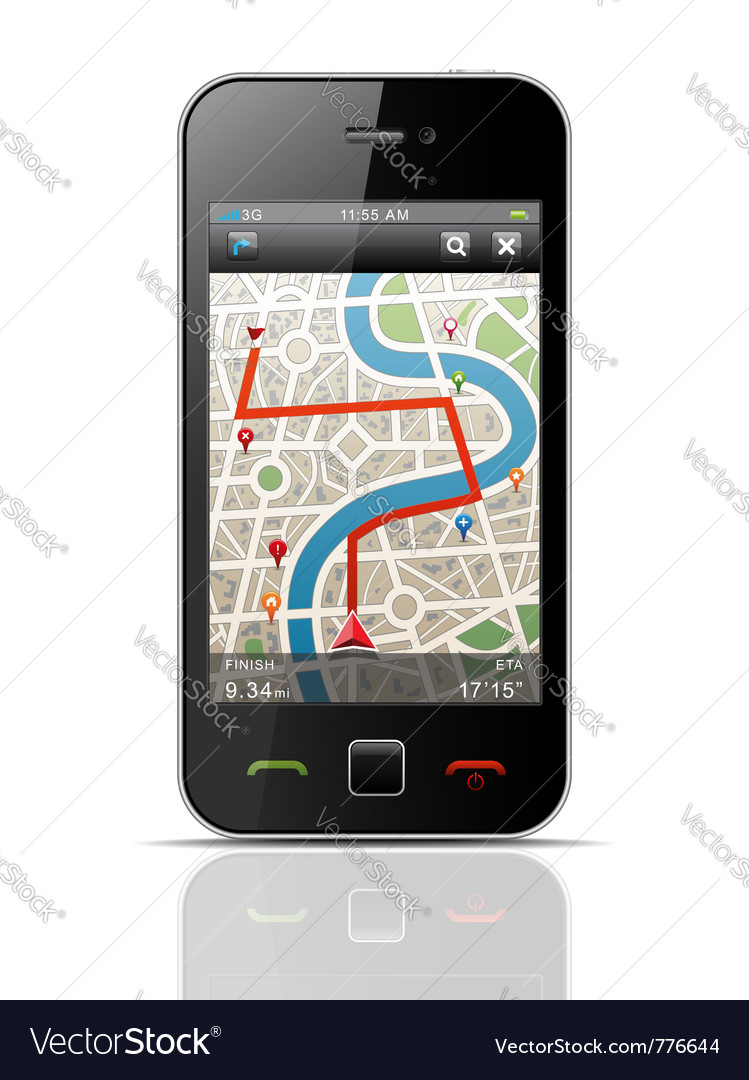 Smartphone with navigation vector | Price: 1 Credit (USD $1)