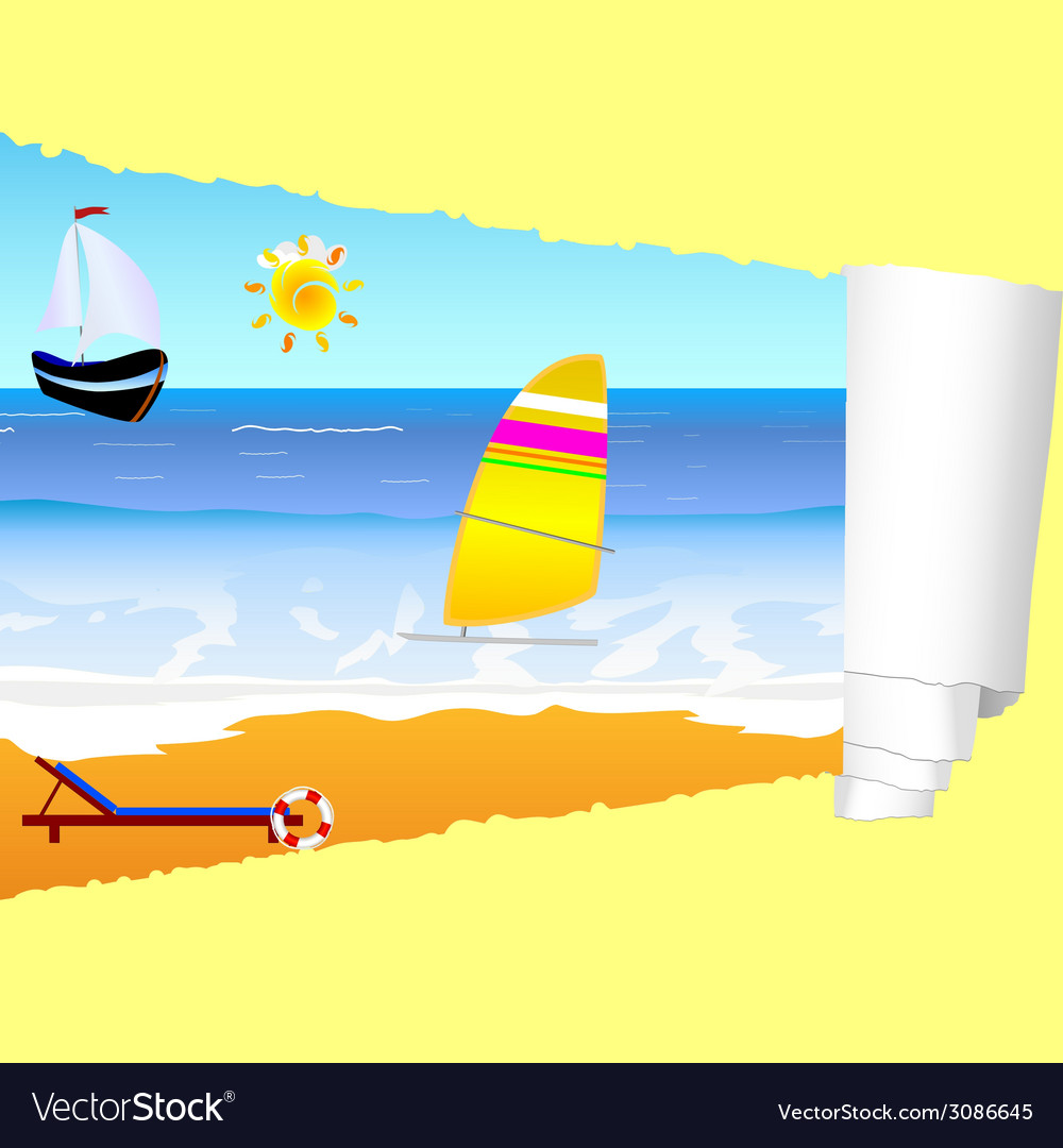 Beach paradise with tearing paper vector | Price: 1 Credit (USD $1)