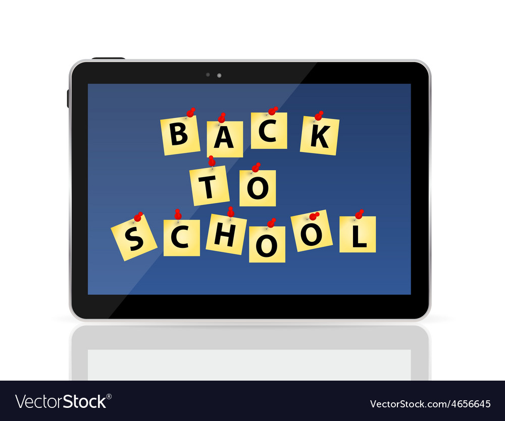 Black tablet pc with back to school vector | Price: 1 Credit (USD $1)