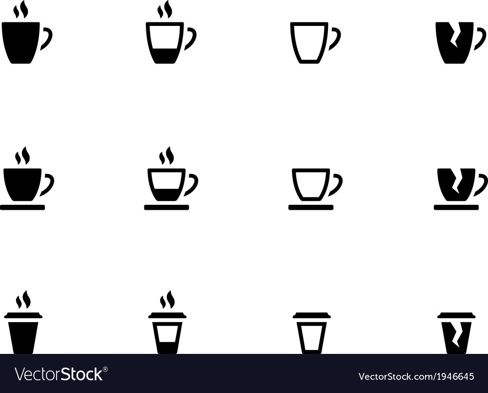 Coffee cup and tea mug icons on white background vector | Price: 1 Credit (USD $1)