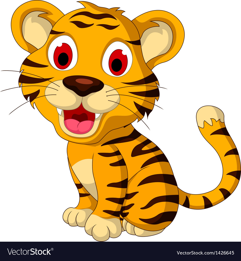 Cute baby tiger posing vector | Price: 1 Credit (USD $1)