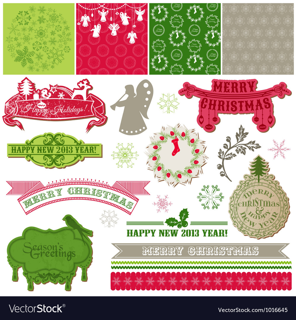 Design elements - vintage merry christmas vector | Price: 1 Credit (USD $1)