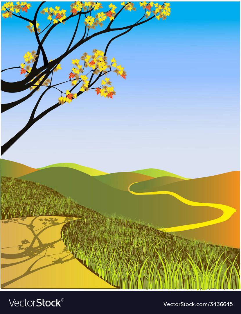 Fall landscape vector | Price: 1 Credit (USD $1)