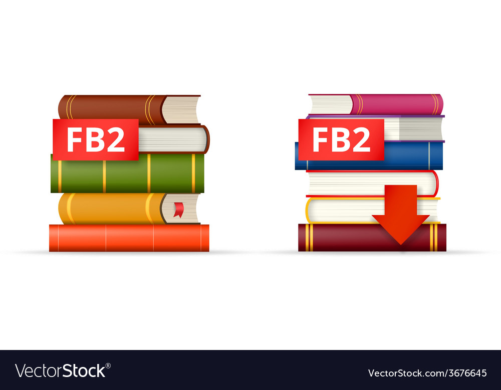 Fb2 books stacks icons vector | Price: 1 Credit (USD $1)