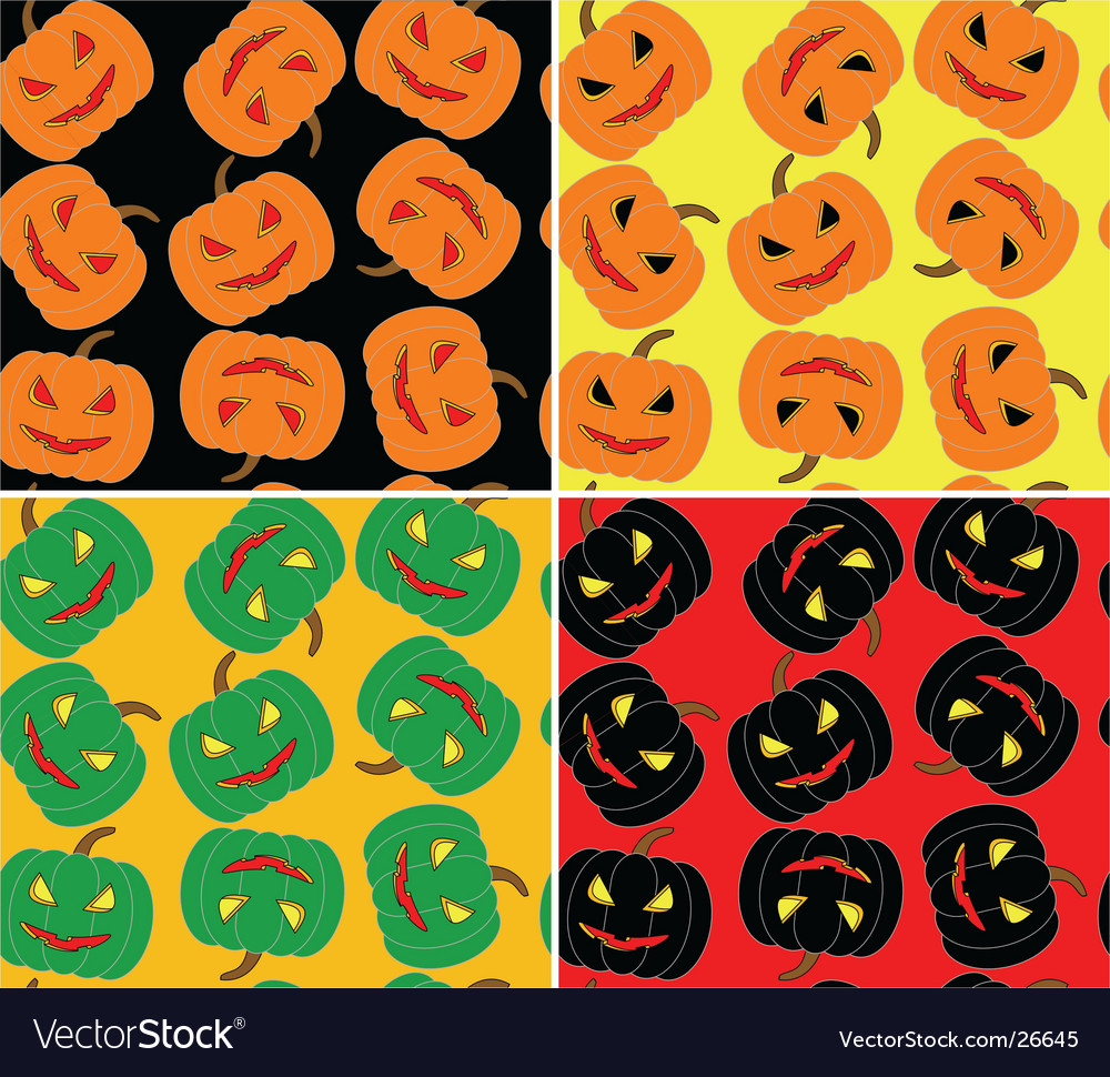 Four seamless halloween pumpkin background vector | Price: 1 Credit (USD $1)