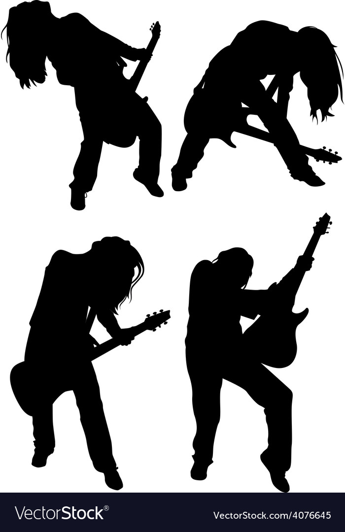 Girl with guitar vector | Price: 1 Credit (USD $1)