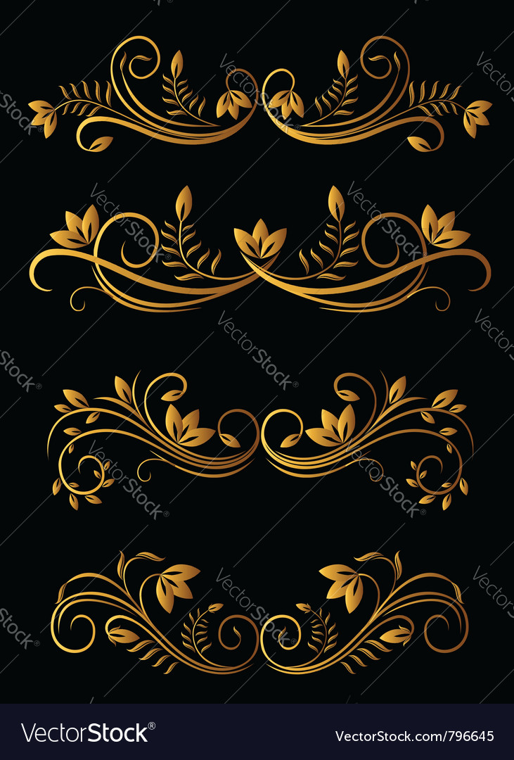 Golden floral elements vector | Price: 1 Credit (USD $1)