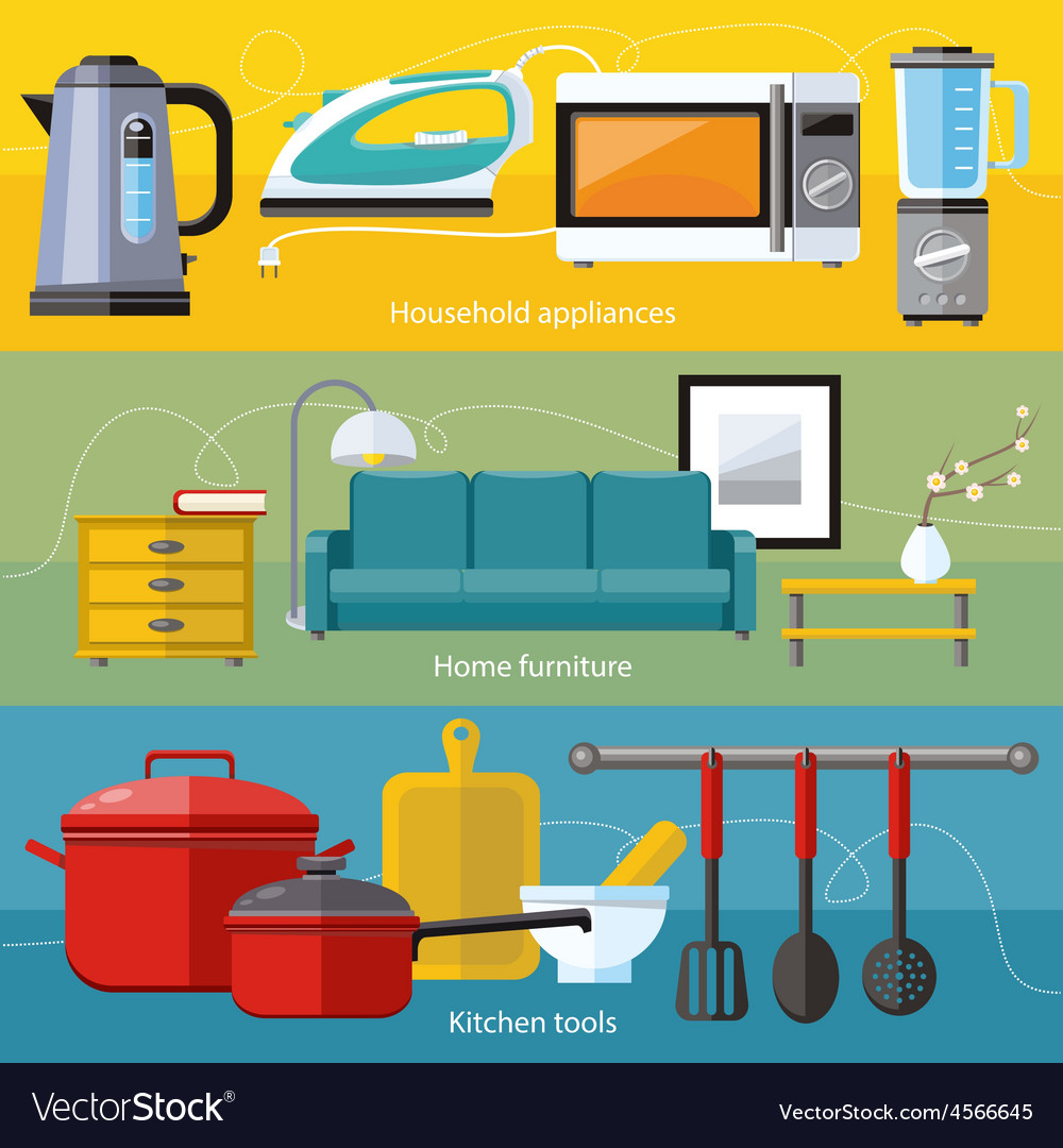 Household appliance furniture cooking serve meal vector | Price: 1 Credit (USD $1)