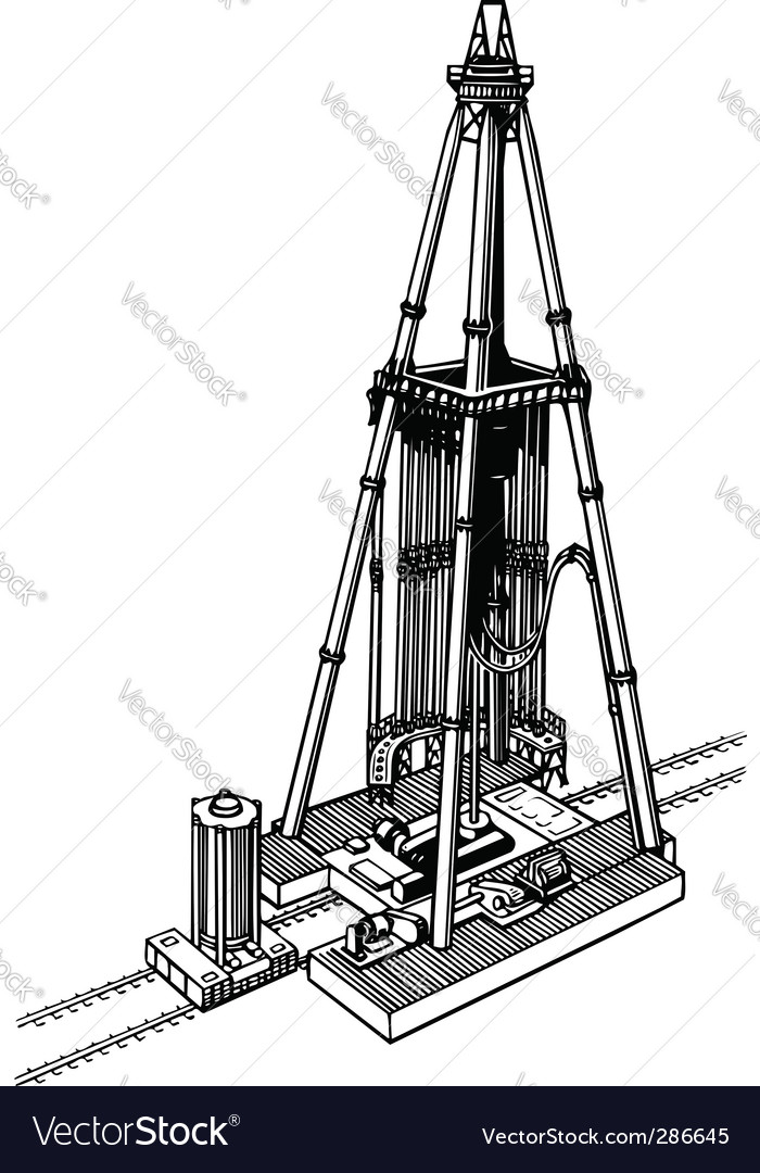 Oil drilling rig vector | Price: 1 Credit (USD $1)