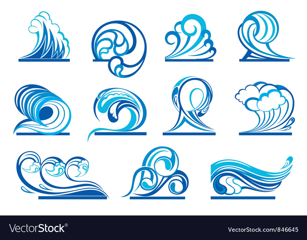 Set of wave symbols vector | Price: 1 Credit (USD $1)