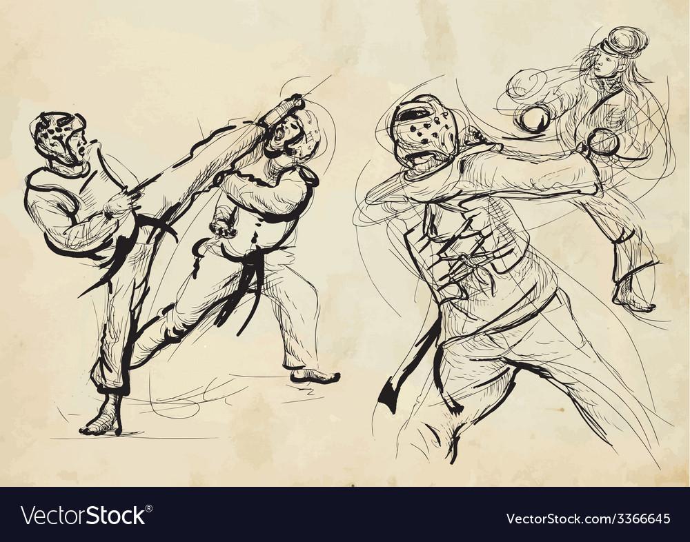 Taekwon-do hand drawn calligraphic and grunge vector | Price: 1 Credit (USD $1)
