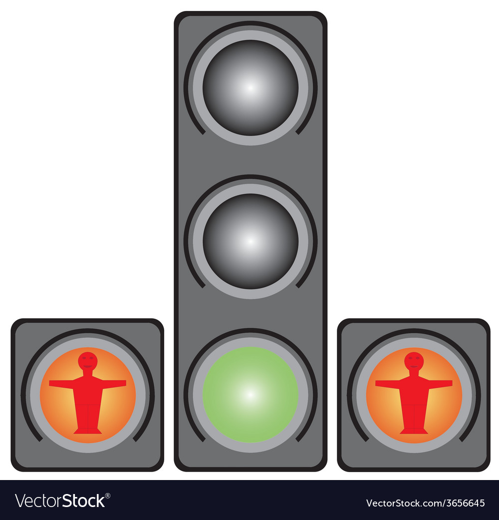 Traffic lights for pedestrians vector | Price: 1 Credit (USD $1)
