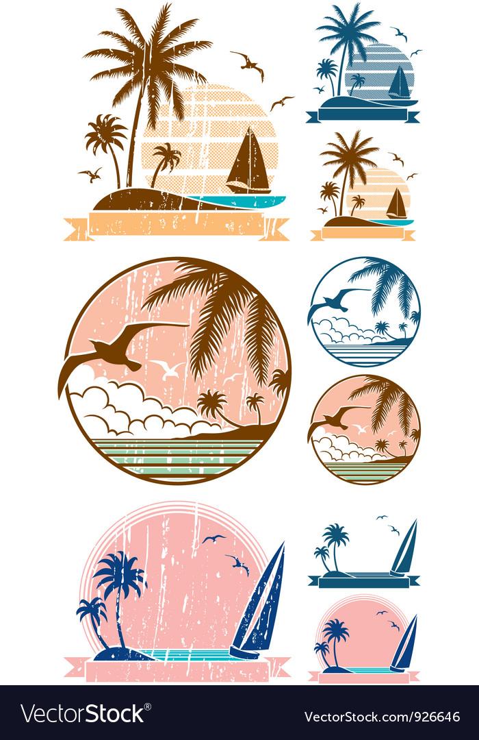 Beach symbols vector | Price: 1 Credit (USD $1)