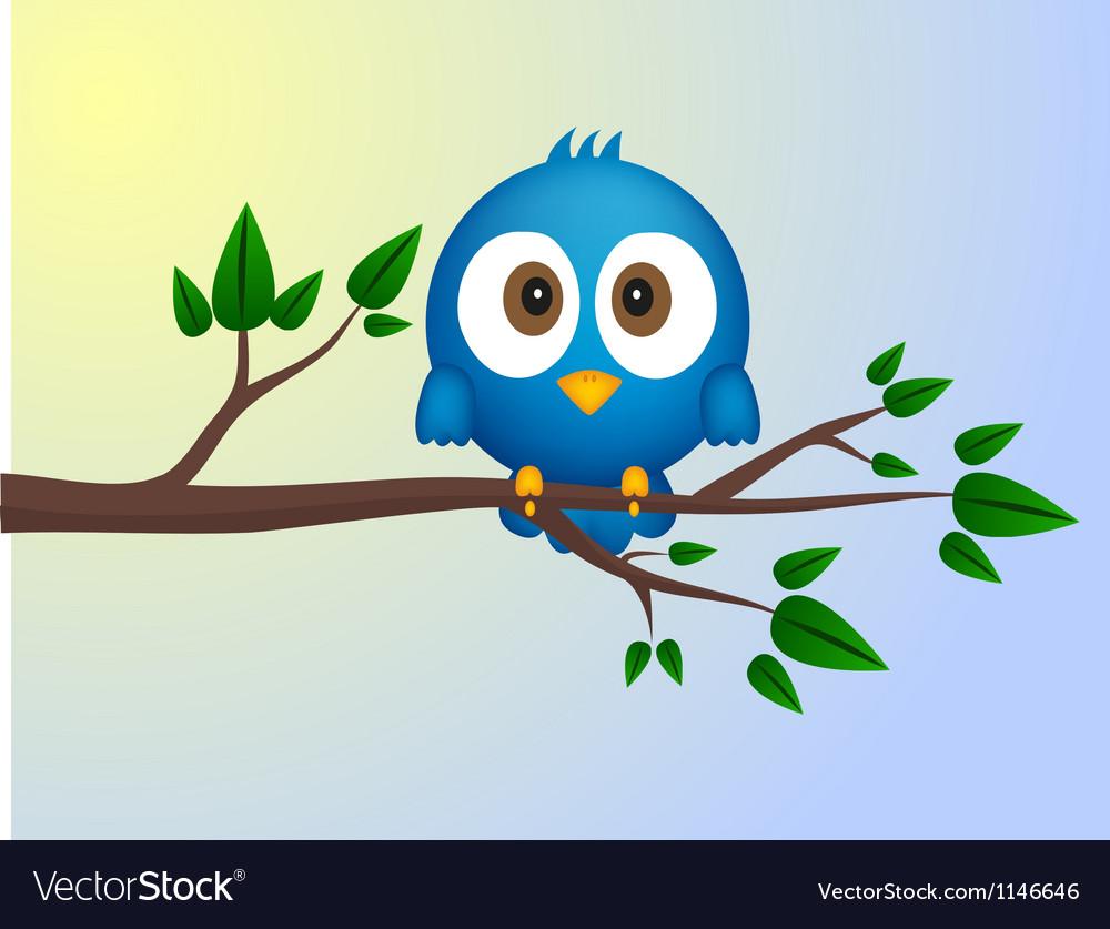 Blue bird sitting on twig vector | Price: 1 Credit (USD $1)