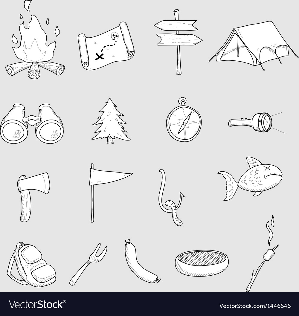 Camping doodles set vector | Price: 1 Credit (USD $1)
