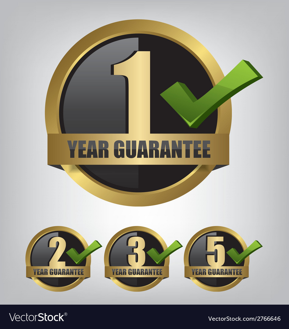 Guarantee gold label button set vector | Price: 1 Credit (USD $1)