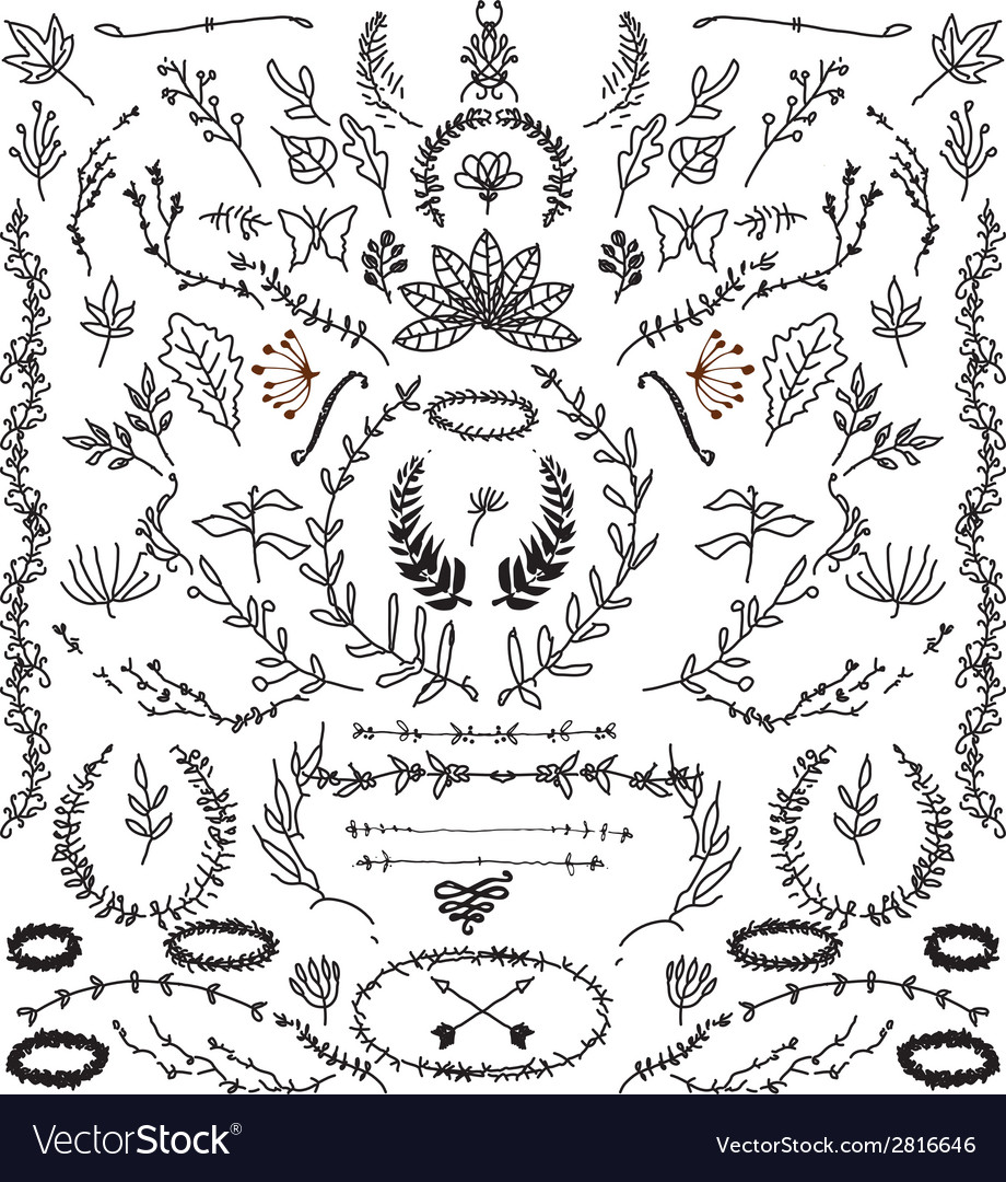Hand drawn vintage design elements vector