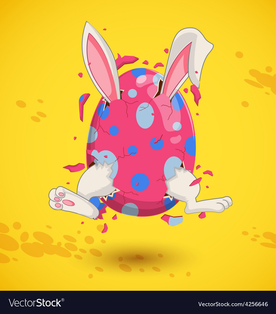 Little bunny in easter egg vector | Price: 1 Credit (USD $1)