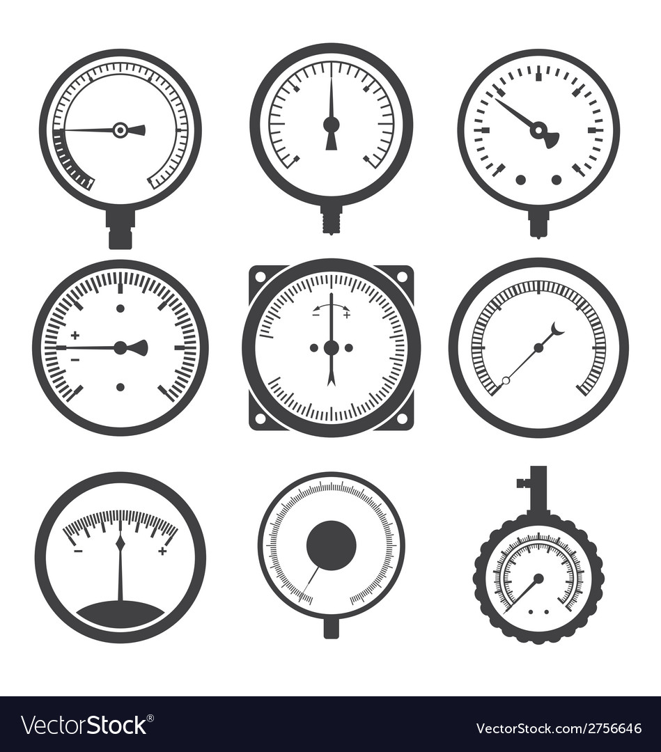 Manometers or pressure gauges and vacuum gauges vector | Price: 1 Credit (USD $1)