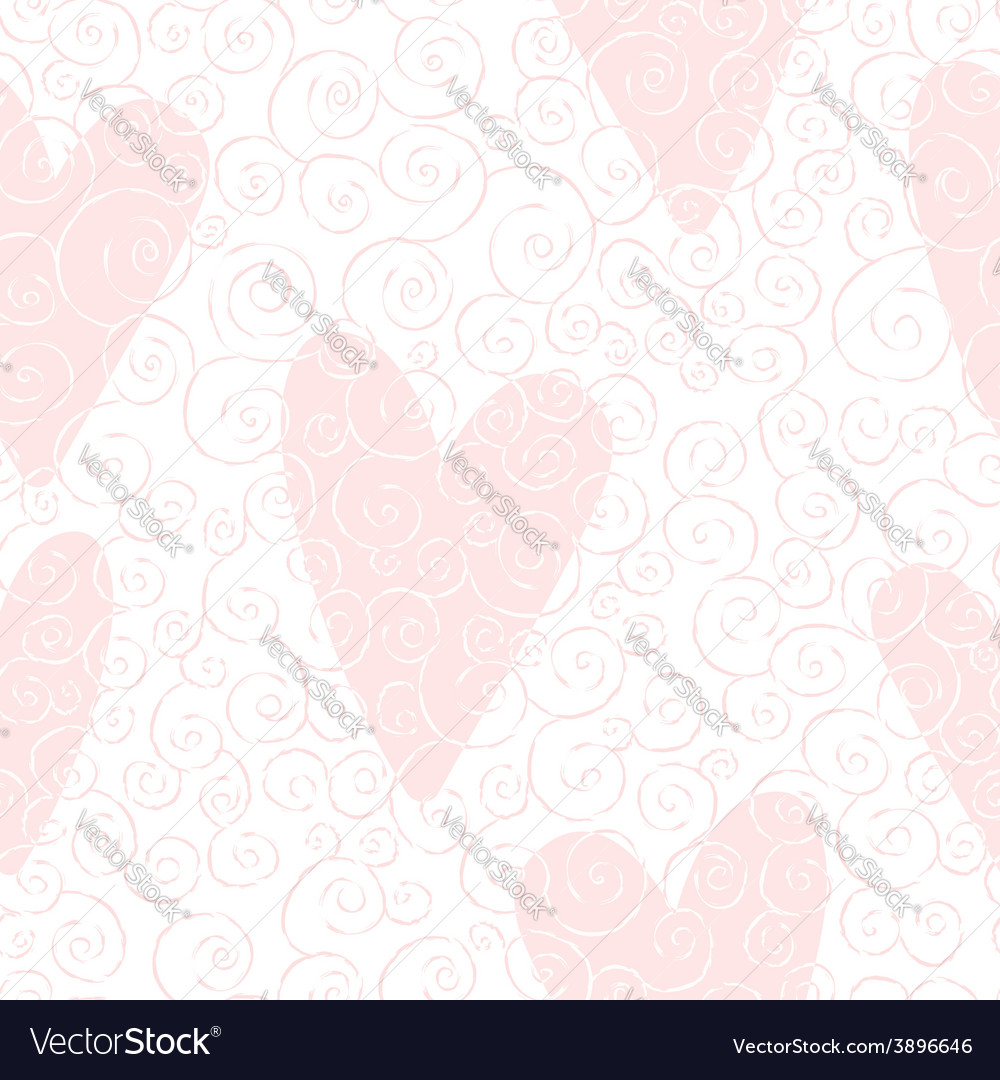 Seamless pattern with swirles and hearts vector | Price: 1 Credit (USD $1)
