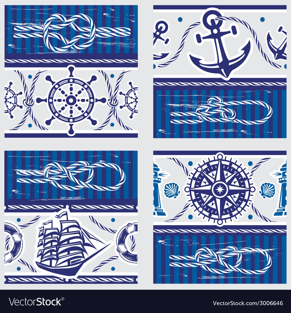 Seampless patterns with nautical symbols and vector | Price: 1 Credit (USD $1)