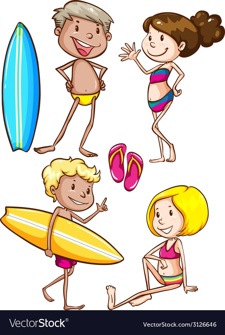 Sketches of the kids enjoying at the beach vector | Price: 1 Credit (USD $1)