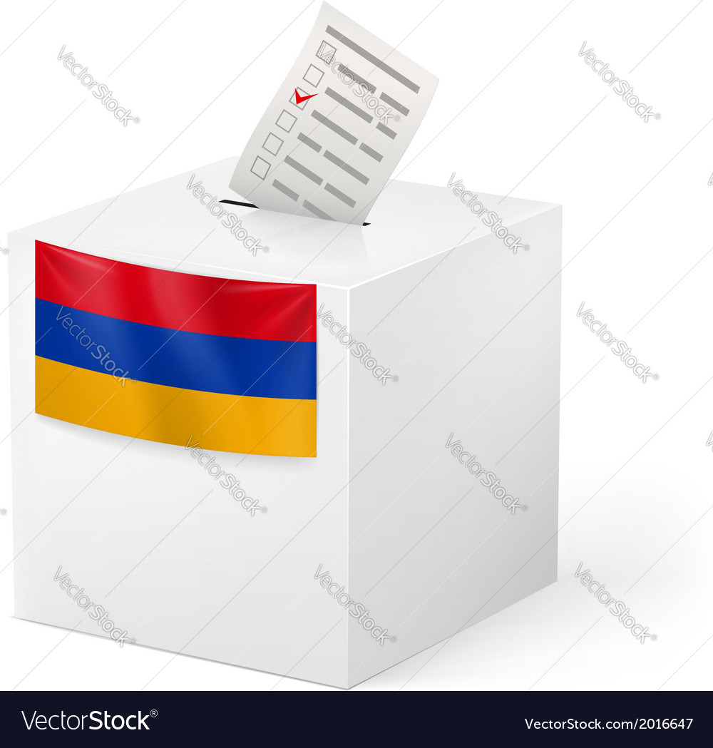 Ballot box with voting paper armenia vector | Price: 1 Credit (USD $1)