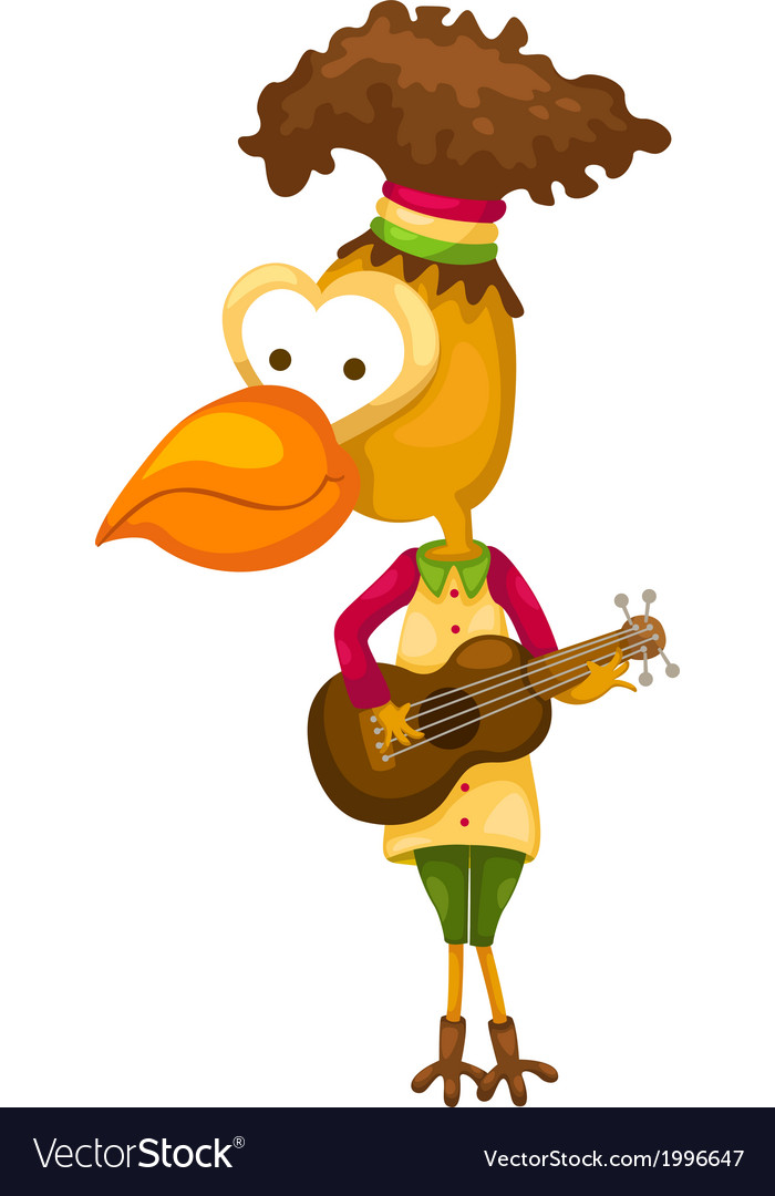 Cartoon bird singing vector | Price: 1 Credit (USD $1)