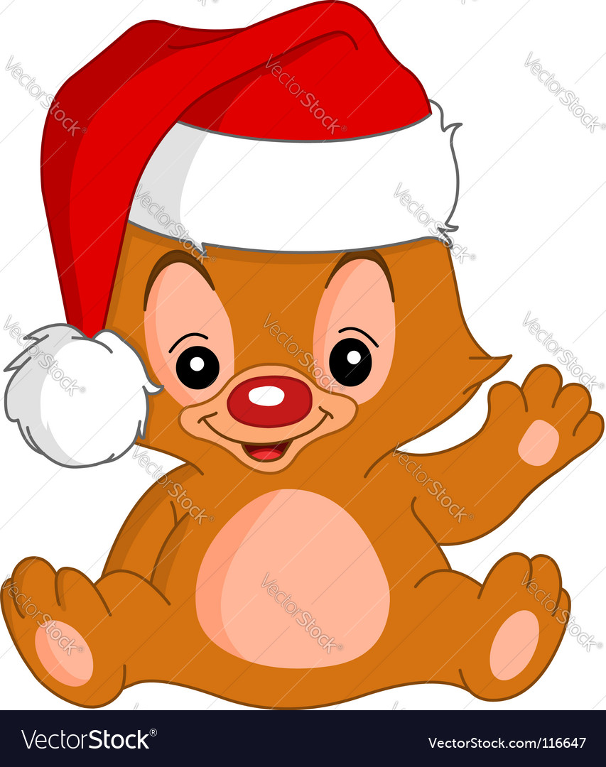 Christmas waving teddy bear vector | Price: 1 Credit (USD $1)