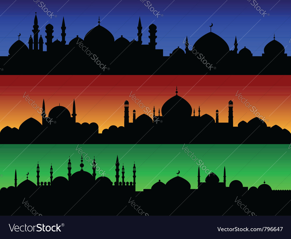 Eastern evening cityscape vector | Price: 1 Credit (USD $1)
