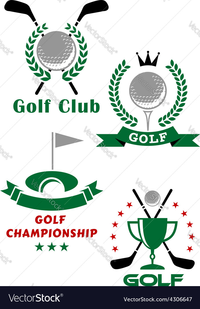 Golf game emblems with equipments and heraldic vector | Price: 1 Credit (USD $1)