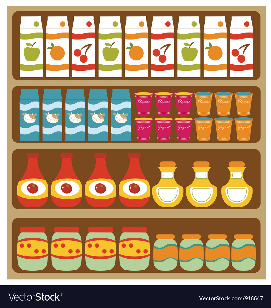 Grocery store shelves vector | Price: 3 Credit (USD $3)