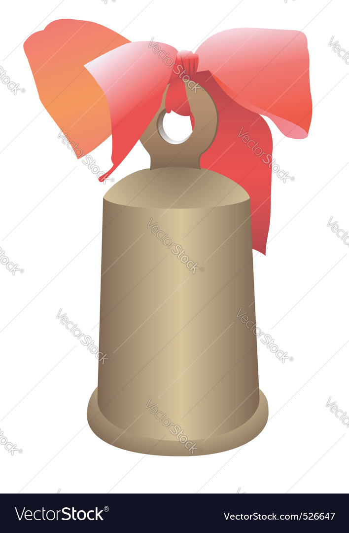 Hand bell with a bow vector | Price: 1 Credit (USD $1)