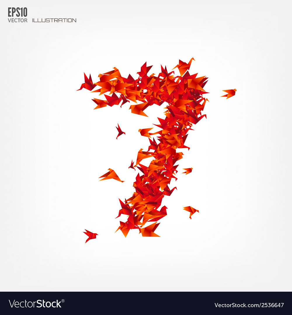 Number 7 numbers with origami paper bird on vector | Price: 1 Credit (USD $1)