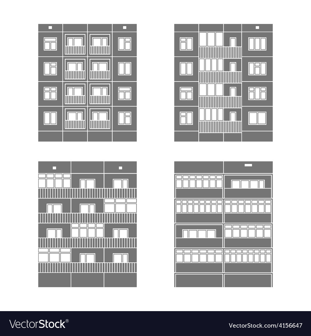 Panel houses set2 vector | Price: 1 Credit (USD $1)