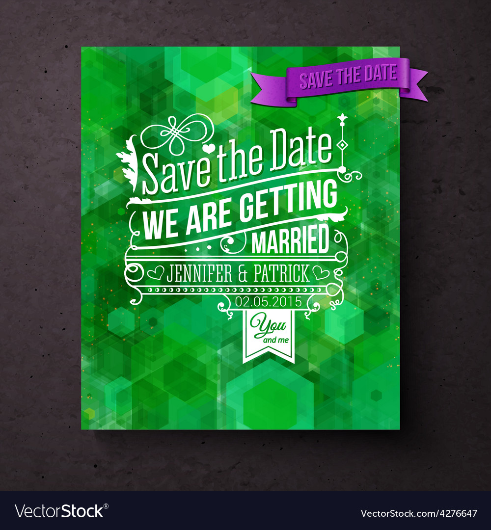 Pretty abstract green save the date template vector | Price: 1 Credit (USD $1)