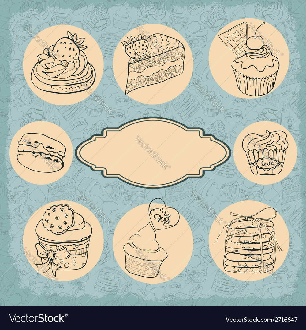 Set of vintage labels cakes vector | Price: 1 Credit (USD $1)