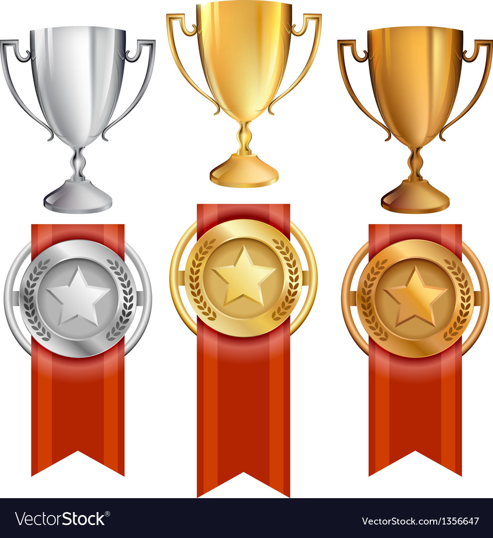 Set trophiesawardsribbons vector | Price: 1 Credit (USD $1)