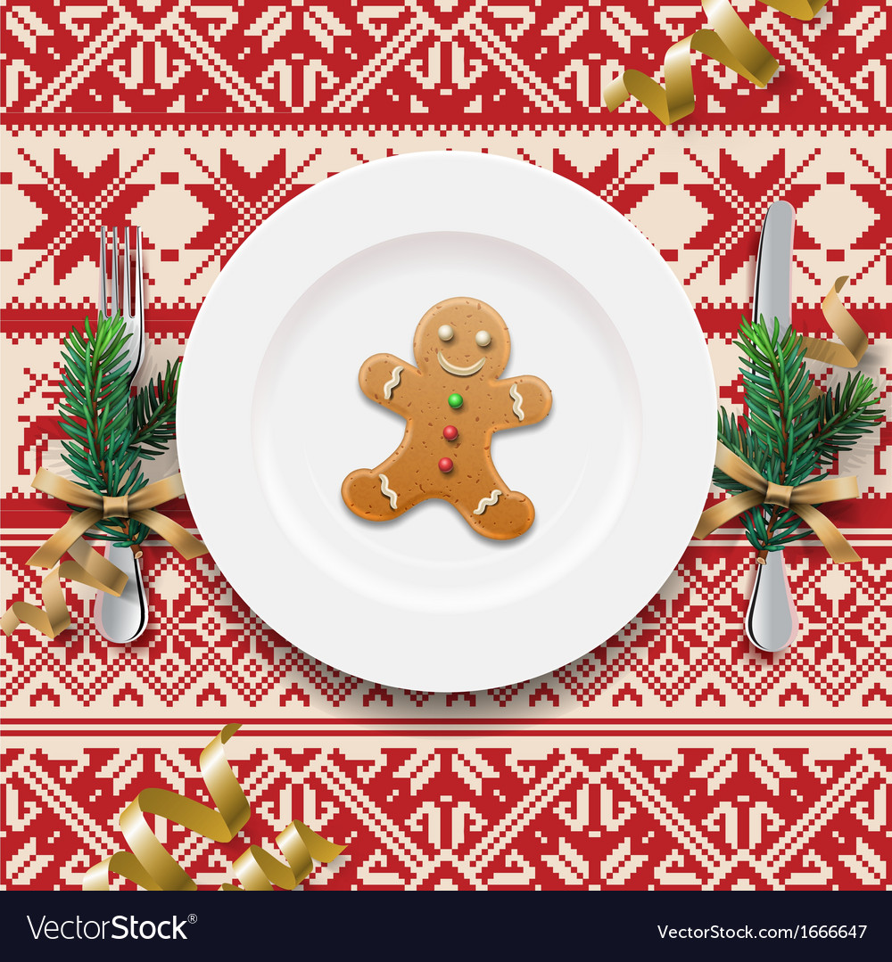 Table setting for christmas dinner vector | Price: 1 Credit (USD $1)