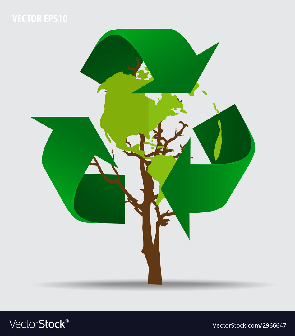 Think green ecology concept tree with recycle vector | Price: 1 Credit (USD $1)